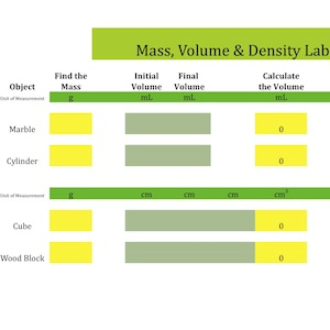 Mass, Volume Density: Interactive Quick Lab