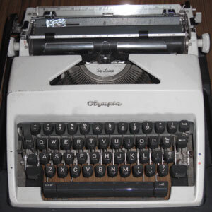 Typing one short line on typewriter