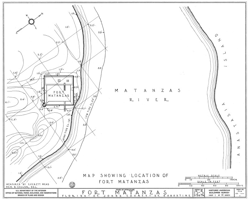 1934 Map Showing Location of Fort Matanzas, No. 15-5, US Department of  the Interior, Office of National Parks, Sheet 1 of 12