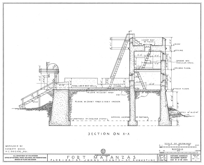 1934 Survey of Fort Matanzas, Cross Section on X , No. 15-5, US Department of  the Interior, Office of National Parks,  Sheet 8 of 12.