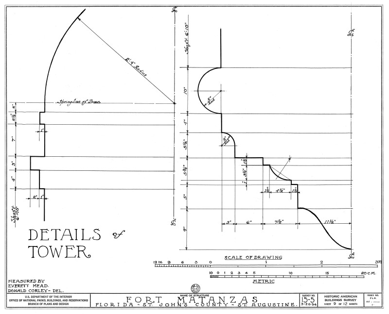 1934 Survey of Fort Matanzas, Details of Tower, No. 15-5, US Department of  the Interior, Office of National Parks,  Sheet 9 of 12.