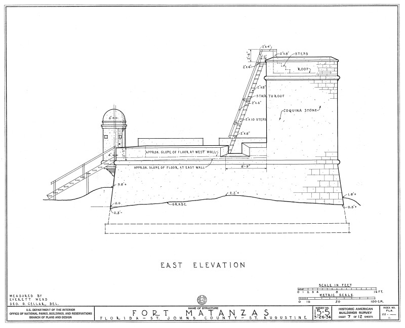 1934 Survey of Fort Matanzas, East Elevation, No. 15-5, US Department of  the Interior, Office of National Parks,  Sheet 7 of 12.