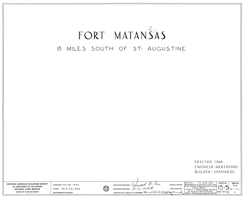 1934 Survey of Fort Matanzas, Historic American Buildings Survey, No 15-5, Sheets 1 to 12