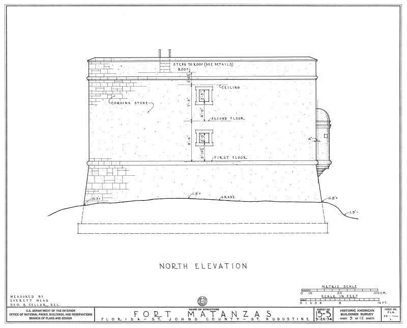 1934 Survey of Fort Matanzas, North Elevation, No. 15-5, US Department of  the Interior, Office of National Parks,  Sheet 5 of 12.