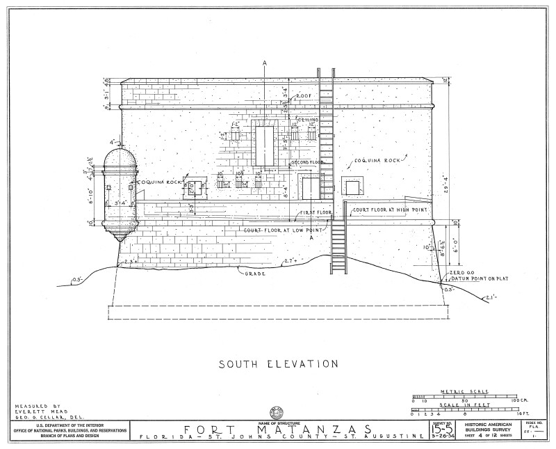 1934 Survey of Fort Matanzas, South Elevation, No. 15-5, US Department of  the Interior, Office of National Parks,  Sheet 4 of 12.