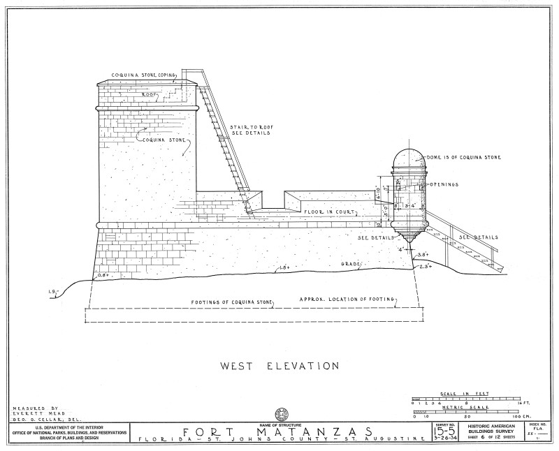 1934 Survey of Fort Matanzas, West Elevation, No. 15-5, US Department of  the Interior, Office of National Parks,  Sheet 6 of 12.