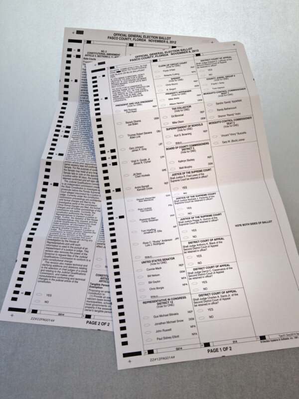 2012 Florida Mail-In Ballot