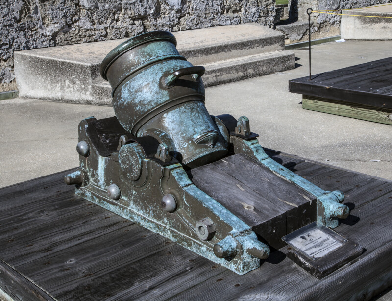 9-Inch, Oxidized, Bronze Mortar on a Firing Step at Castillo de San Marcos