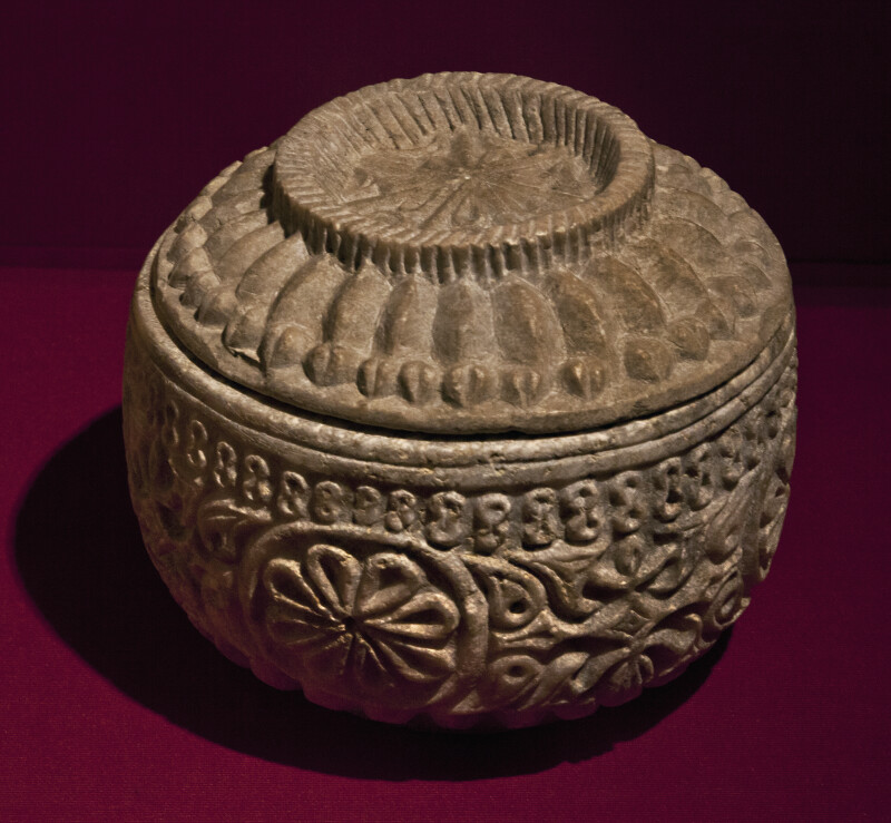 9th Century Marble Vessel with a Lid