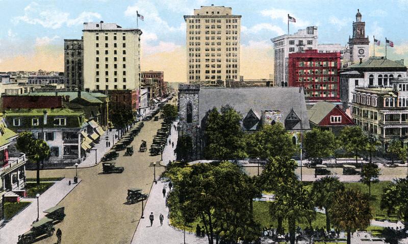 A Birds' Eye View of Laurel Street, looking South