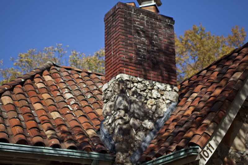A Brick Chimney with a Stone Veneer