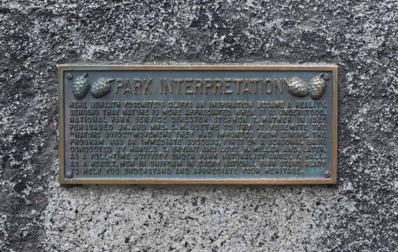 A Bronze Plaque Discussing Park Interpretation Philosophy