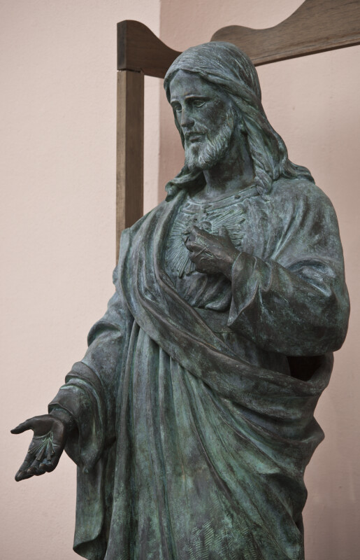 A Bronze Statue at a Church