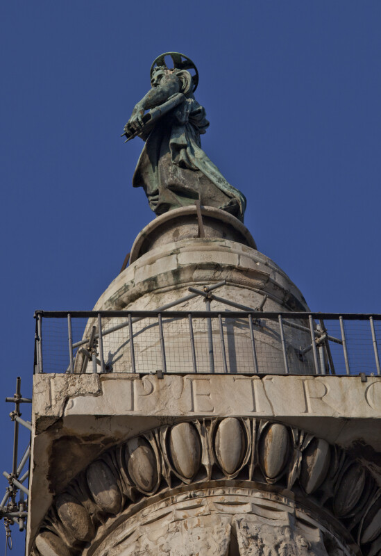 A Bronze Statue of Saint Peter Tops Trajan's Column