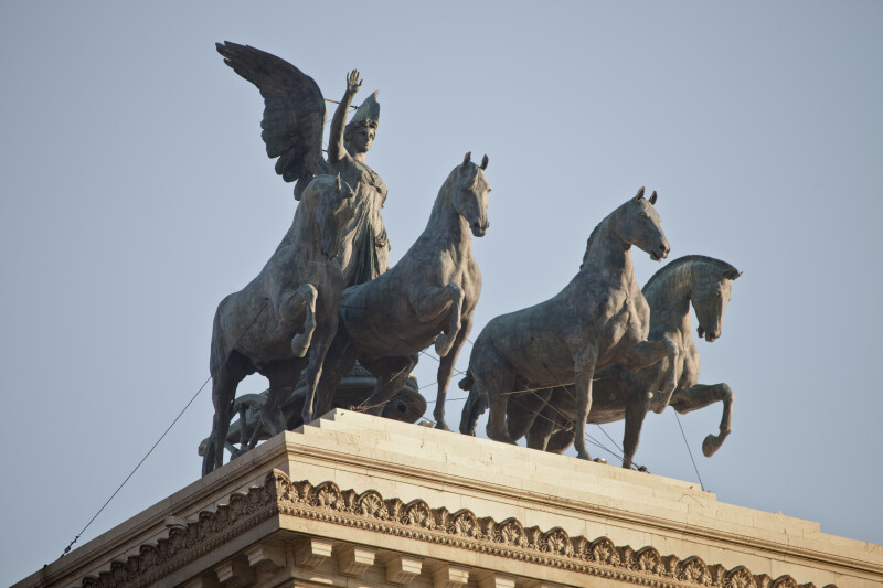 A Bronze Statue of Victory Riding in a Quadriga