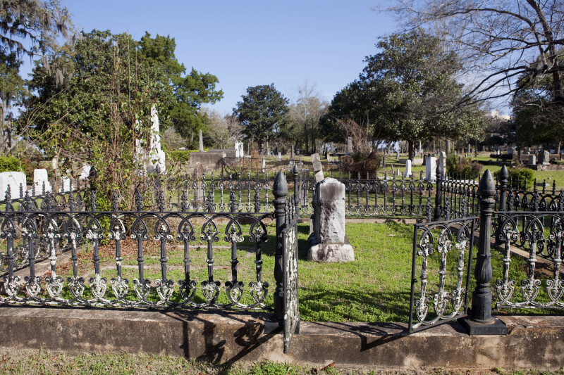 A Burial Plot Surrounded by a Wrought Iron Fence