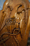 A Carved Eagle Clutching a Shield and a Rope