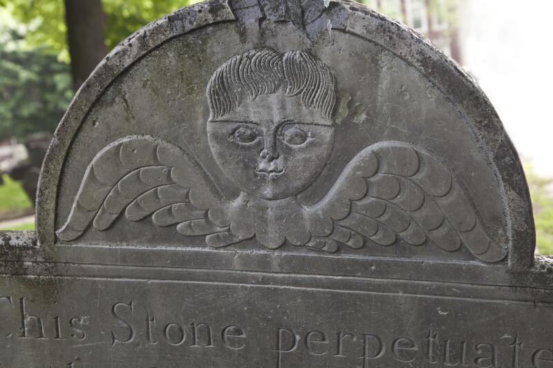 A Cherub Motif on a Grave Marker