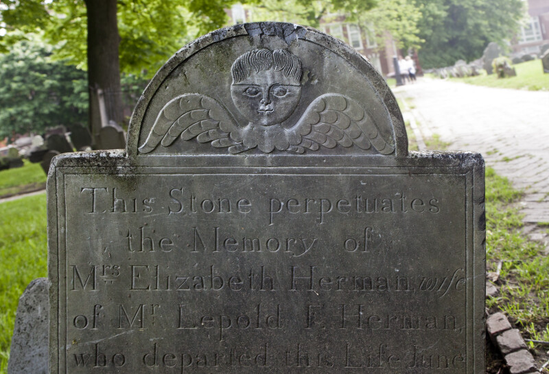 A Cherub on a Shouldered Tablet Headstone