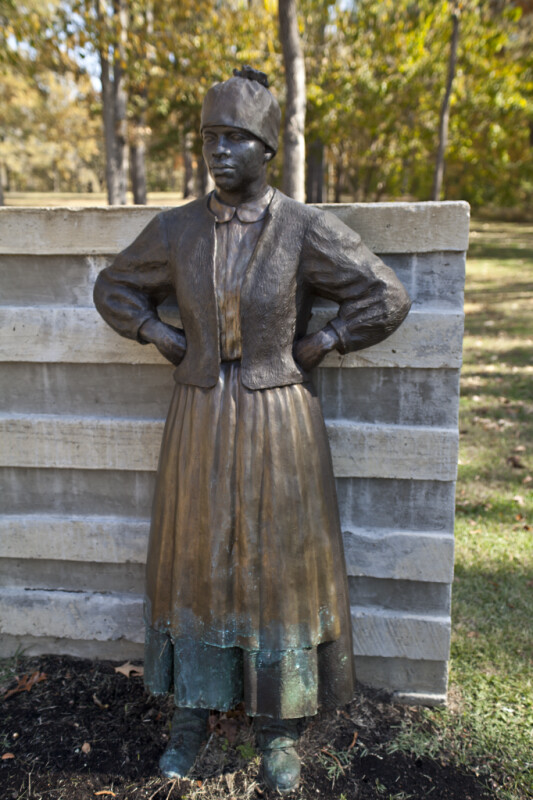 """A Close-Up of the Bronze Figure Known as """"Leaning Woman"""""""