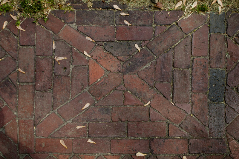 A Closer View of a Brick Walkway