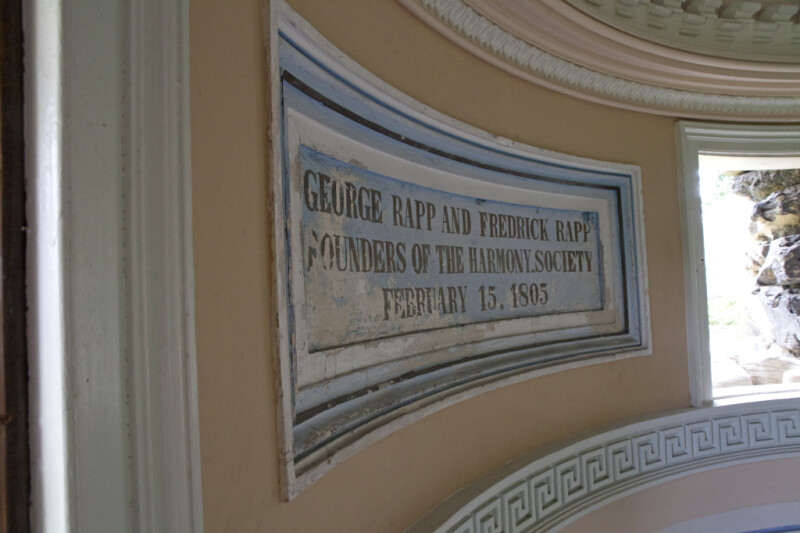 A Dedication to George and Frederick Rapp in the Grotto