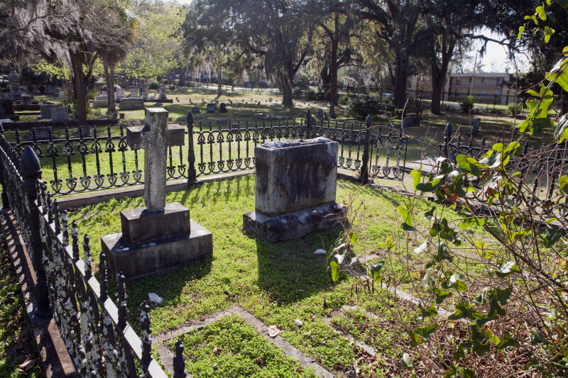 A Family Plot with Multiple Headstones