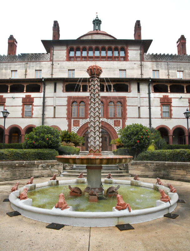 A Fountain in the Courtyard of the Hotel Ponce de Leon