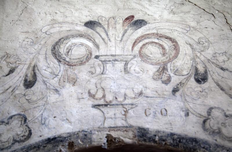 A Fresco Above the Baptistry Door at Mission Concepción