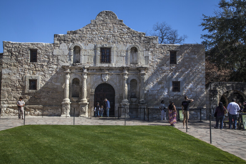 A Front View of the Church Building at the Alamo