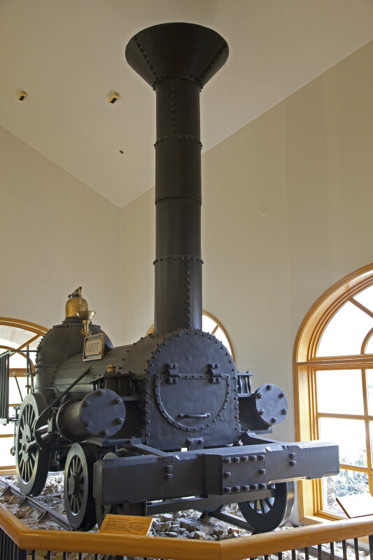 A Full Front View of a Steam-Powered Locomotive Engine