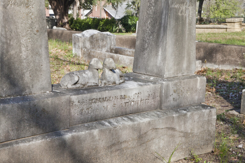 A Grave Marker with a Pair of Lambs
