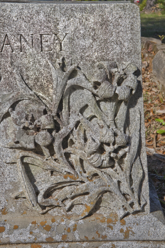 A High-Relief of Flowers on a Headstone