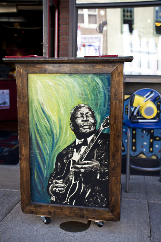 A Hostess Stand with a Picture of B. B. King