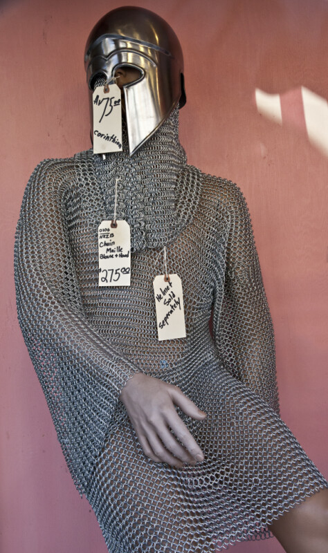 A Mannequin Wearing Maille and a Barbute