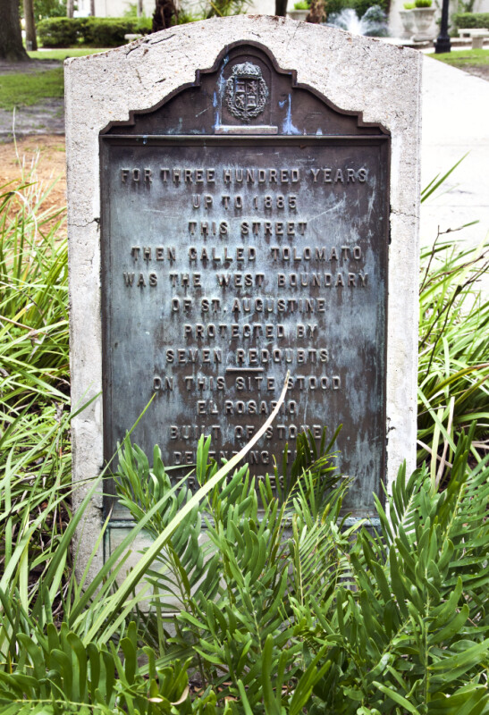A Marker at the Historic Western Boundary of St. Augustine