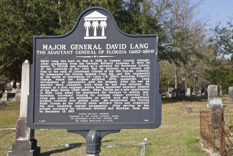 A Marker near the Grave of Major general David Lang