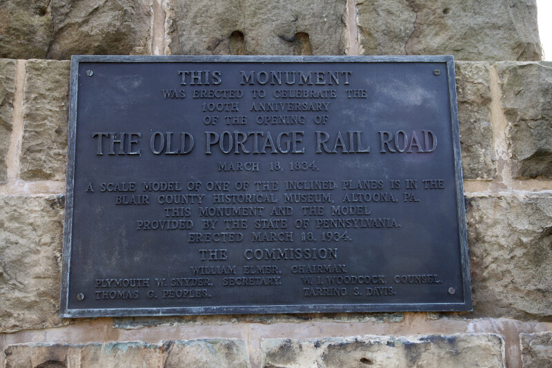 A Metal Plaque Monument for the Old Portage Railroad