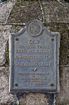 A Metal Plaque on a Marker for the Eastern Terminus of the Old Spanish Trail