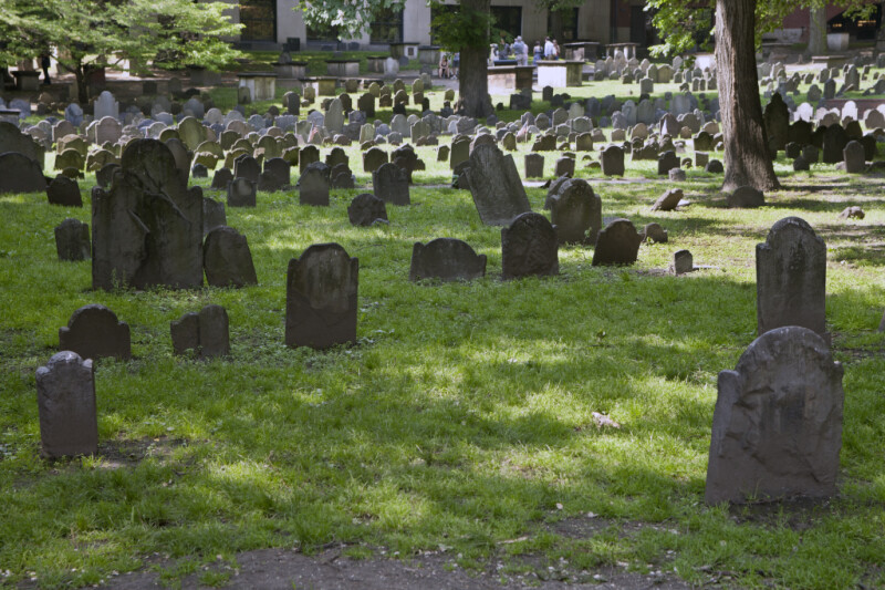 A Mix of Headstones, and Box Tombs, in a Cemetery