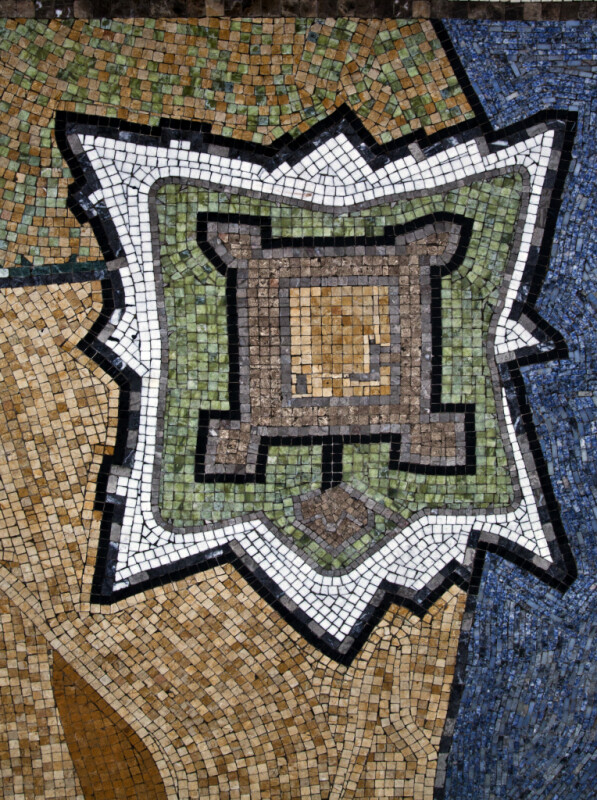 A Plan View of Castillo de San Marcos in a Mosaic in a Mosaic