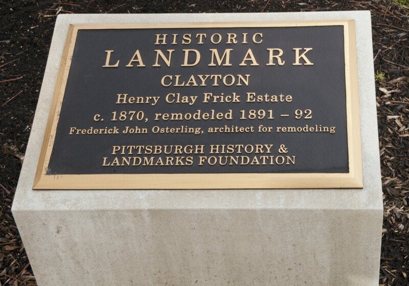 A Plaque Indicating the Historic Landmark Status of Clayton