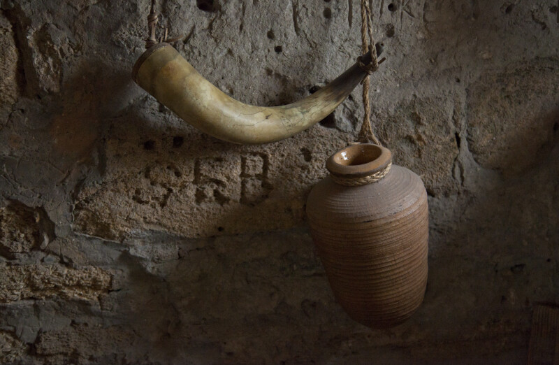 A Powder Horn, and an Earthenware Jar