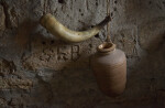 A Powder Horn, and an Earthenware Jar