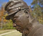 A Profile View of the Face of a Bronze Sculpture of Union Soldier