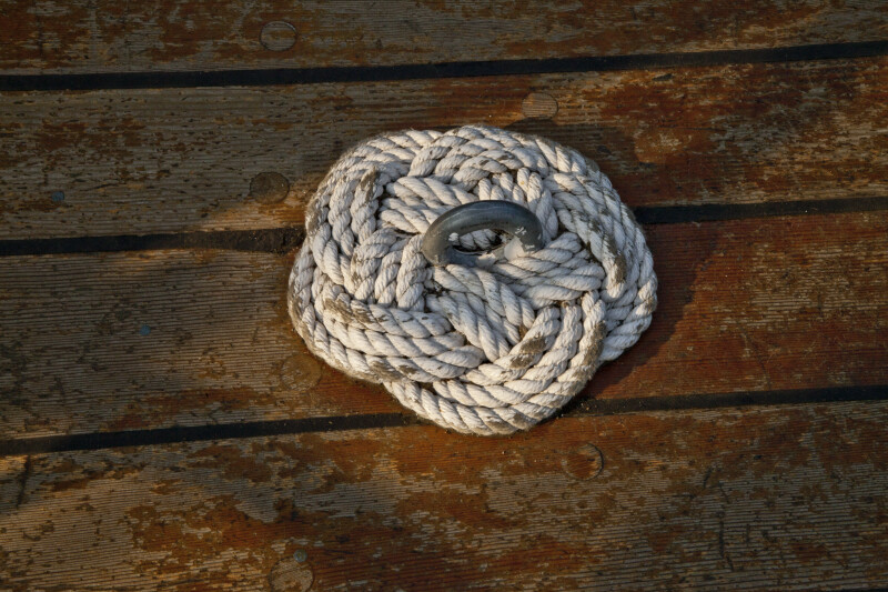 A Rope Knot Wrapped around a Metal Eye
