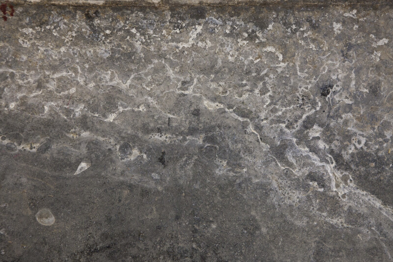 A section of concrete or stone with a filmy residue on its surface.