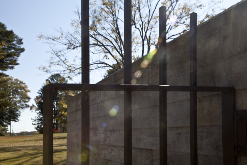 A Section of Metal Fence outside the Corinth Civil War Interpretive Center