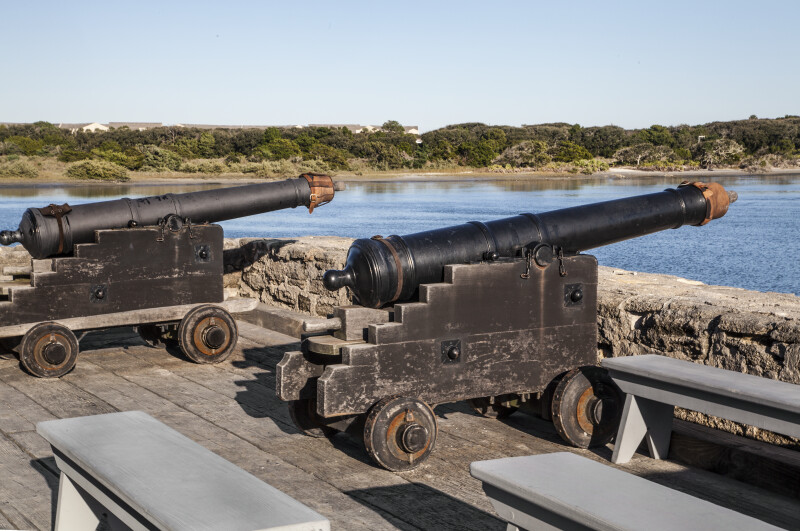 A set of Cast Iron Cannons on the battlements of Fort Matanzas