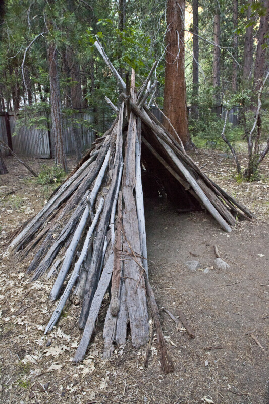 A Side View of a Bark House in Ahwahnee Village